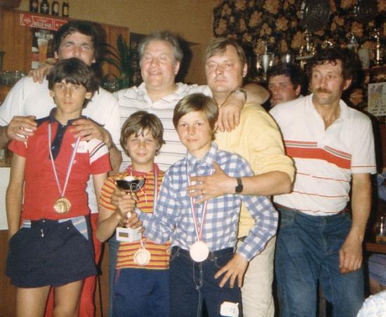Les champions avec leur papa