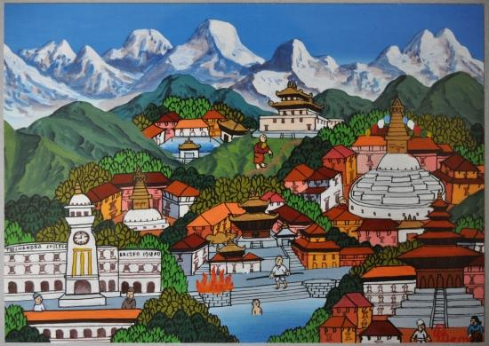 La vall&eacute;e de Katmandu (peinture na&iuml;ve)