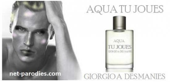 parodie fausse pub parfum giorgio armani à des manies Giorgio Armani