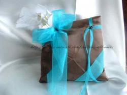 coussin chocolat turquoise