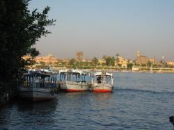 Les motorboat - en fond le temple de Louxor- 2008