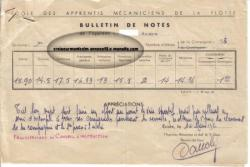 eamf - bulletin de notes - 1er semestre - 12 mars 1951