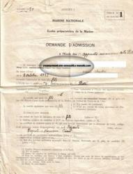 Marine nationale - demande d'admission -