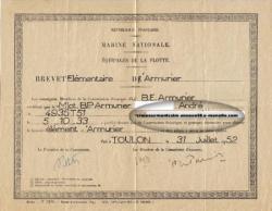 Marine nationale - brevet élémentaire d'armurier - 31 juillet 1952