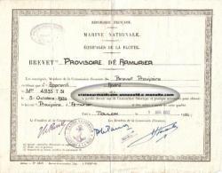 Marine nationale -brevet provisoire d'armurier - 1er avril 1952