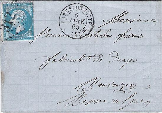 Courrier de 1865