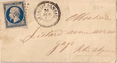 Courrier de 1858