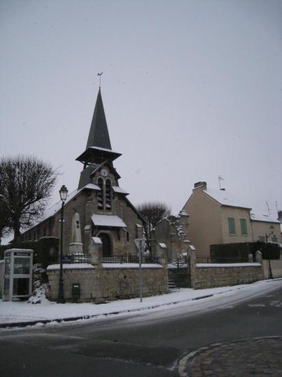Eglise de Génicourt sous la neige