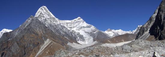 Depuis le Tsho Rolpa, vue sur le Ripimoshar Glacier
