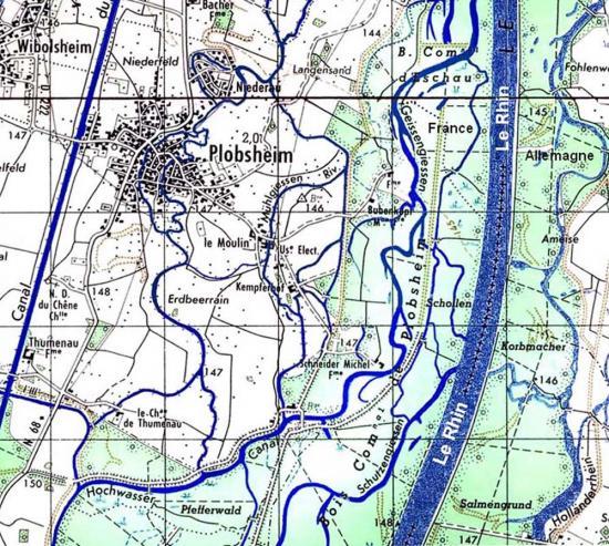 Plan du réseau hydrographique des environs de Plobsheim (1967)