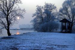 Janvier 2009, le Plan d'Eau gelé