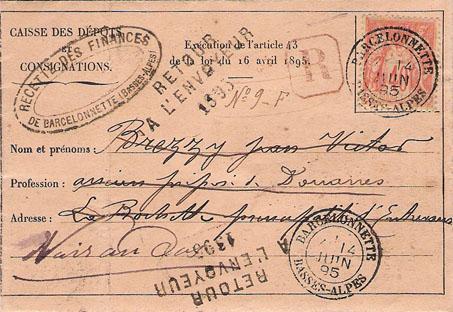 Courrier de 1895