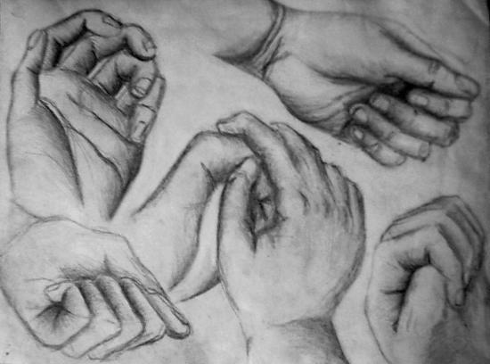 Dessins de personnages au crayon et fusain - Dessin 2 mains ...