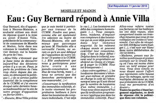 Le droit de réponse de Guy BERNARD