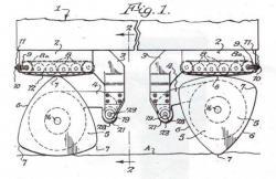 Véhicule avec roues en forme de triangle curviligne