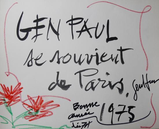 Gen Paul,Lithographie,Page de garde rehaussée avec autographe,tirés à part calendrier 1975