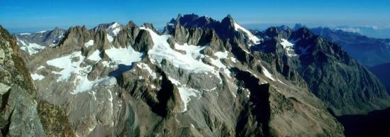 Le massif de la Meije depuis le sommet de la Roche Faurio (hors itinéraire)