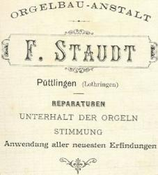 En-tête de l'entreprise Staudt à la fin du XIX° siècle