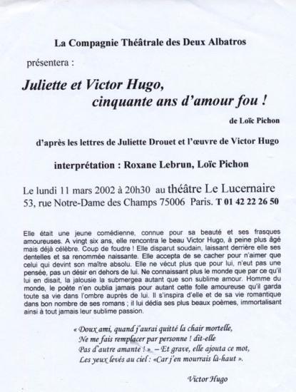 Juliette et Victor Hugo - Th Lucernaire