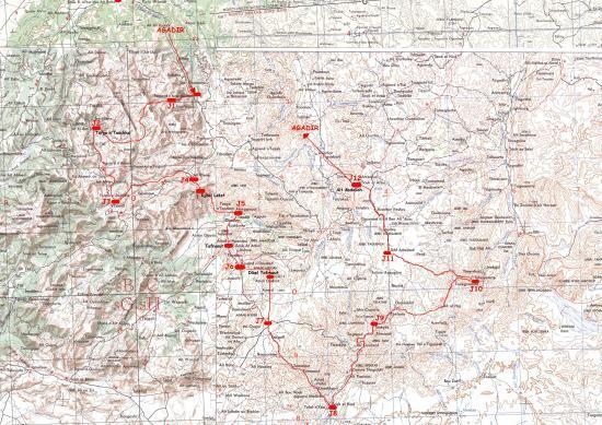 carte du circuit dans l'Anti-Atlas (région de Tafraout)