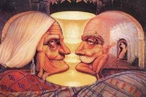 Cette image peut représenter trois tableaux différents : un couple de vieillards, des mexicains jouant de la guitare ou encore un vase.