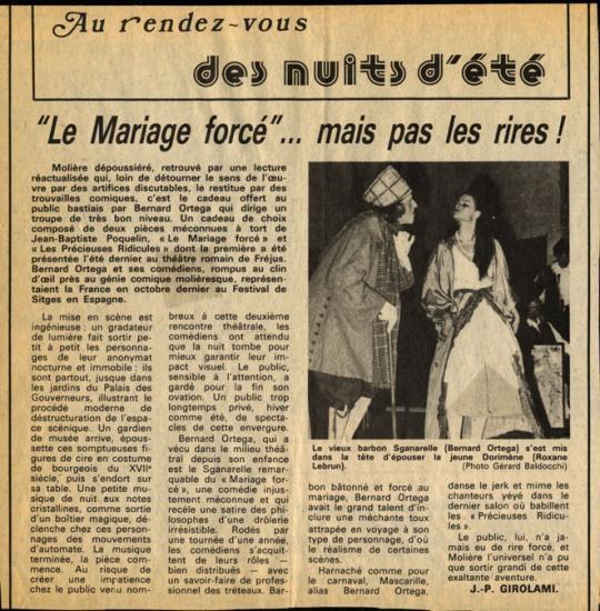 Le Mariage forcé - R.Lebrun : rôle de Dorimène