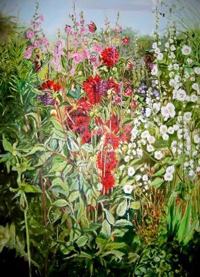 dahlias et roses trémières