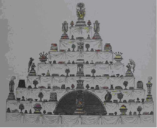 Représentation d'un buffet du XVII, source : http://4.bp.blogspot.com/_LoyjXdjgvAg/R1VcR3fpffI/AAAAAAAABK4/zuwN9vJseOw/s1600-h/CIMG0860.JPG