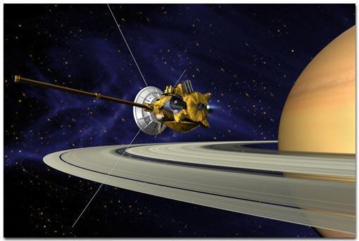La sonde Cassini (vue d'artiste)...