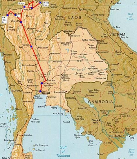 Ayutthaya Carte Thailande.Ayutthaya Sukhothai Pai Chiangra