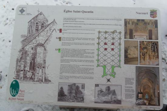 Plaque explicative - église de Nucourt