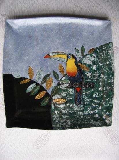 Le toucan vu par elisabeth for Peinture sur email