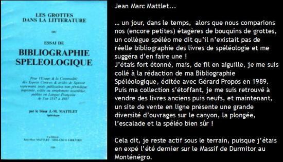 Librairie Spéléo de Jean Marc Mattlet