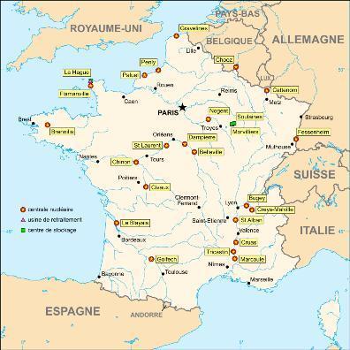 Carte de l'énergie nucléaire française: