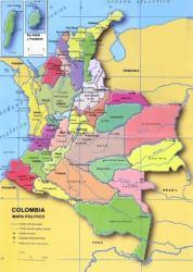 Mapa Colombia con el Choco al norte-oeste, cerca de Panama