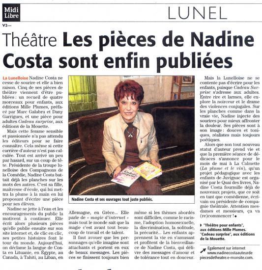 MIDI LIBRE du 3 mars 2010 Nadine COSTA