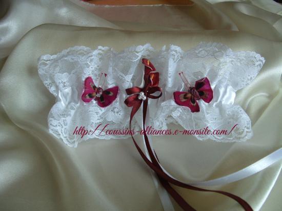 jarretière blanche arums et papillons