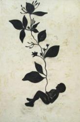 "Bebé flotante ""Serie de los Bebés Flotantes"", carbón sobre papel amate entelado, 2007."
