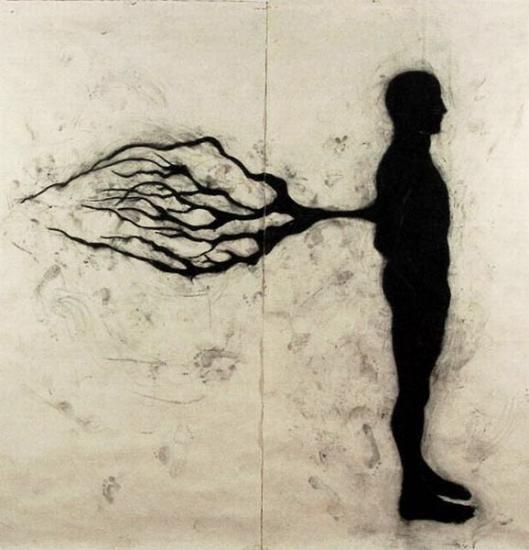 """""""Cuando estaba allá"""", carbón sobre papel amate entelado 240x240cm, 2004. Este dibujo obtuvo una Mención honorífica en la XII Bienal Rufino Tamayo."""