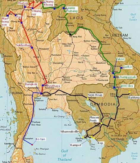 Carte Frontiere Thailande Laos.Thailande