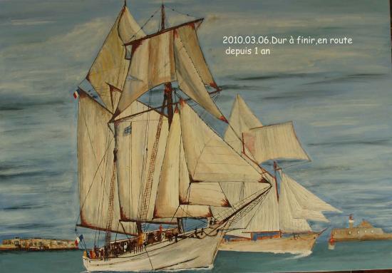 L'Etoile et la Belle Poule dans la rade de Cherbourg