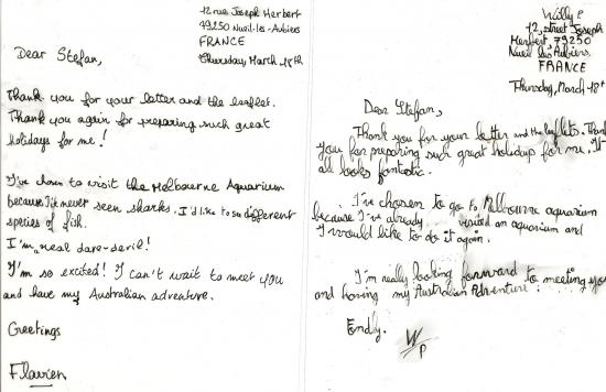 Thank you letter french host family
