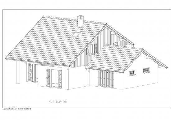 Plan de facades for Plan maison sud est