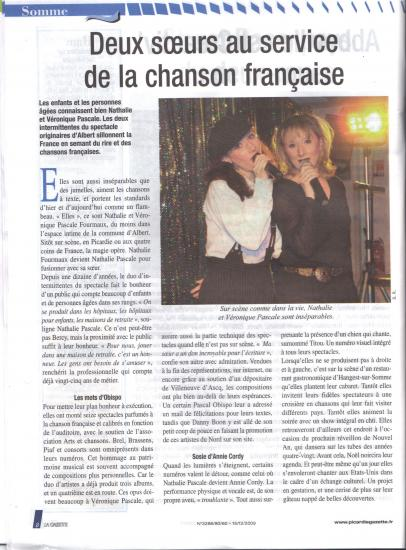ARTICLE DANS LA GAZETTE EN 2009