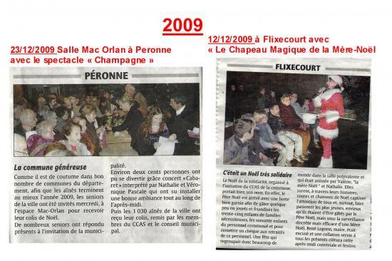 LE COURRIER PICARD 2009-COMMUNE DE FLIXECOUR-LE CHAPEAU MAGIQUE DE LA MERE-NOEL