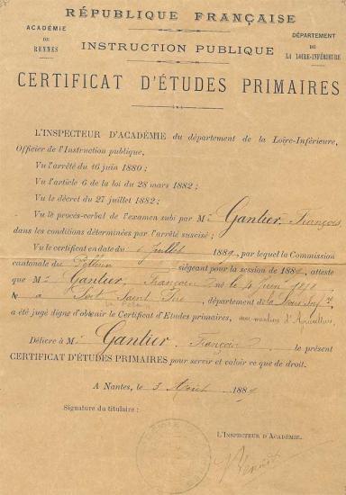 certificat études françois gantier 1878-1914