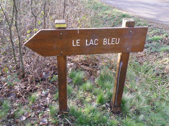 Pancarte Lac Bleu en forêt de Carnelle