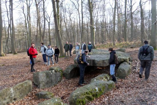 Randonneurs à la Pierre Turquaise en forêt de Carnelle