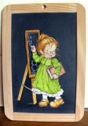 maîtresse d'école 1 - peinture sur ardoise d'écolier