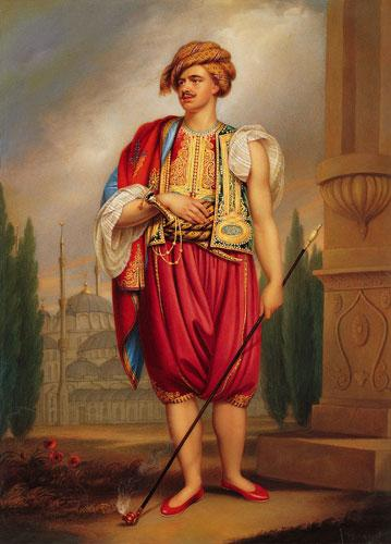 Portrait of Thomas Hope in Turkish Costume by William Beechy later couloured by Henry Bone